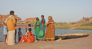 Indian family near the river Stock Image