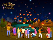 Indian family people celebrating Diwali festival of India. In vector royalty free illustration