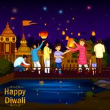 Indian family people celebrating Diwali festival of India. In vector Royalty Free Stock Photos