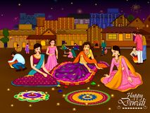 Indian family people celebrating Diwali festival of India. In vector Royalty Free Stock Image