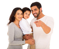 Indian family pointing Stock Photo
