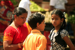 Indian family. At the Sardar Market in Jodhpur Royalty Free Stock Image