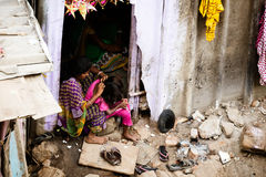 Indian Family in a Slum Royalty Free Stock Image