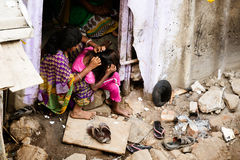 Indian Family in a Slum Stock Image