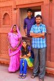 Indian family standing in Jahangiri Mahal in Agra Fort, Uttar Pr Stock Photos