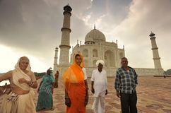 Indian family in Taj Mahal Stock Photo