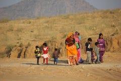 Indian family walking for going to Pushkar Fair Stock Photos