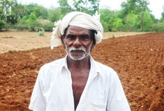 Indian Farmer. Posing to Camera stock photos