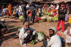 Indian farmers sell vegetables on outdoor market Stock Photos