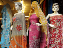 Indian Fashion. Four Mannequin in Indian Clothing in Varanasi, India Royalty Free Stock Photo