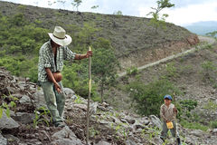 Indian father and son working in subsistence farming. Guatemala, Chiquimula department, municipality Jocotan: in the mountains is huge poverty, food scarcity and Stock Photo