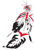 Indian feather. A two decorative Indian feather with ornaments vector illustration