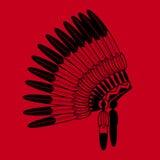 Indian feathers war bonnet. American Indian feathers war bonnet on red background. Vector feathers war bonnet Stock Photo