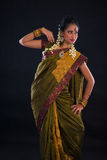 Indian female dancer during diwali festival of lights Stock Photos