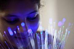 Indian female in light glow Stock Photography