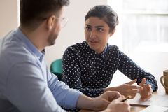 Free Indian Female Mentor Worker Talking To Male Coworker In Office Royalty Free Stock Photo - 160752845