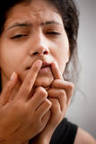 Indian female in pain Stock Images