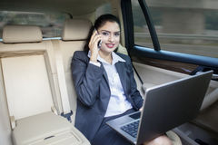 Indian female worker in the car Royalty Free Stock Images