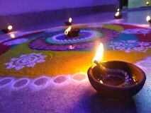 Free Indian Festival Diwali, Celebrated With Joy, Decorated With Rangoli And Diyas. Stock Photo - 199580180