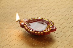 Indian Festival Diwali - Handmade Diya Clay Lamp Royalty Free Stock Photo