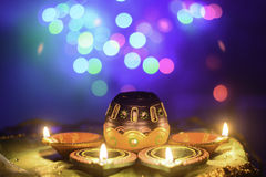 Indian Festival Diwali Oil Lamp Decoration. With nice lighting bokeh background Stock Photography