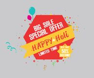 Indian festival holi with big festive sale offer banner.  Stock Image