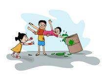 Indian festival, Holi celebration with kids. Stock Image