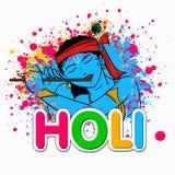 Indian festival, Holi celebration with Lord Krishna. vector illustration