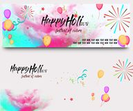 Indian festival holi with colorful floral background for big sale offer banner.  Royalty Free Stock Image
