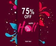 Indian festival holi with colorful pichkari and floral background for super sale offer banner.  Royalty Free Stock Photography