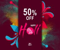 Indian festival holi with colorful pichkari and floral background for super sale offer banner.  Stock Photo