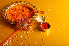 Indian festival raksha bandhan , Rakhi with flower ,rice. Indian festival raksha bandhan , Rakhi with flower , rice etc stock photography