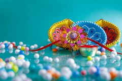 Indian festival raksha bandhan , Rakhi with flower ,rice. Indian festival raksha bandhan , Rakhi with flower , rice etc royalty free stock photo