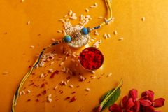 Indian festival raksha bandhan , Rakhi with flower ,rice. Indian festival raksha bandhan , Rakhi with flower , rice etc stock photos
