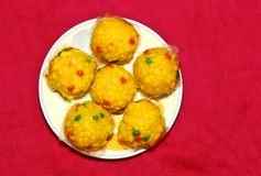 Indian festival sweet Laddu. Made with gram-flour, sugar and ghee royalty free stock images