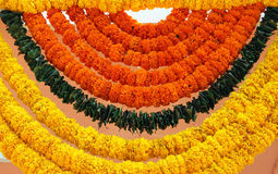 Indian festive decoration - a garland of Marigold flowers Stock Photo