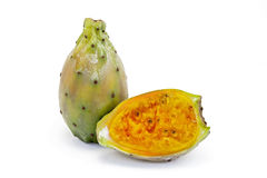 Indian fig opuntia, fruit rich in fiber. SANTOS, SP, BRAZIL - JANUARY 24, 2016 - Indian fig opuntia, Opuntia ficus-indica, fruit of the Cactaceae family, rich in royalty free stock photos