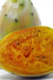 Indian fig opuntia, fruit rich in fiber. SANTOS, SP, BRAZIL - JANUARY 24, 2016 - Indian fig opuntia, Opuntia ficus-indica, fruit of the Cactaceae family, rich in royalty free stock image