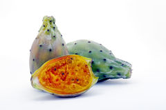 Indian fig opuntia, fruit rich in fiber. SANTOS, SP, BRAZIL - JANUARY 24, 2016 - Indian fig opuntia, Opuntia ficus-indica, fruit of the Cactaceae family, rich in stock photo