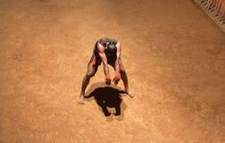 Kalaripayattu Martial Art in Kerala, India. Indian fighter performing Kalaripayattu marital art. Kalaripayattu is an ancient form of martial art of Kerala dating Stock Images