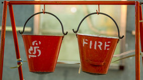 Indian fire buckets Stock Photos