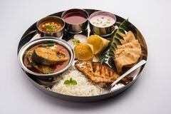 Free Indian Fish Platter Or Seafood Thali Served In A Steel Plate Or Over Banana Leaf Stock Image - 193378371