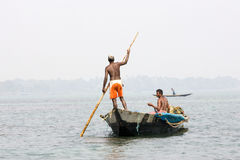 Indian fisherman on the Chilika lake Royalty Free Stock Images