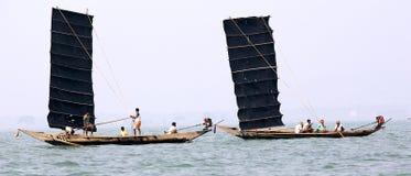 Indian fisherman on the Chilika lake Royalty Free Stock Image