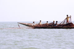 Indian fisherman on the Chilika lake Stock Photo