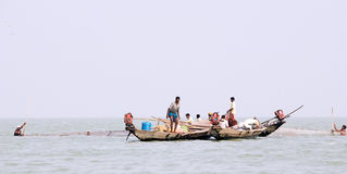 Indian fisherman on the Chilika lake Stock Image