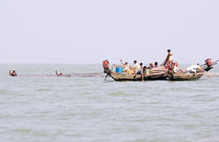 Indian fisherman on the Chilika lake Royalty Free Stock Photo