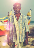 Indian Fisherman Kerela India Solitude Tranquil Concept Stock Photography
