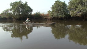 Indian fisherman river stock footage