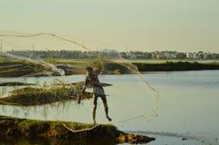 Indian fisherman. Fisherman working hard in India stock photos